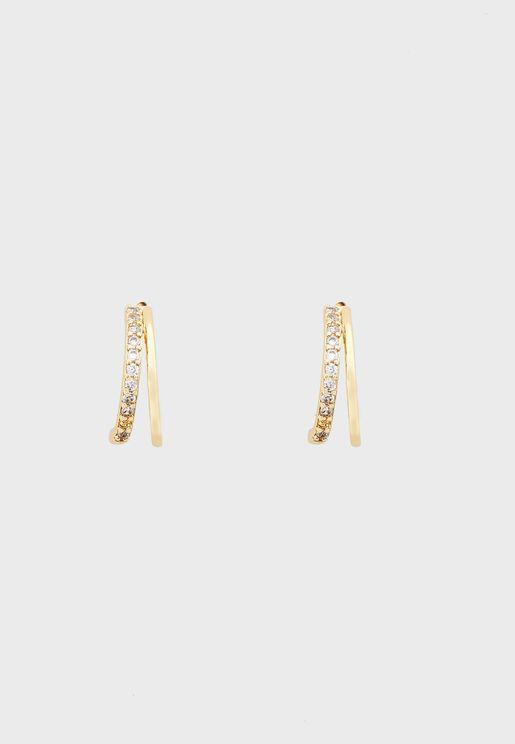 Diamante Double Hoop Huggie Stud Earrings