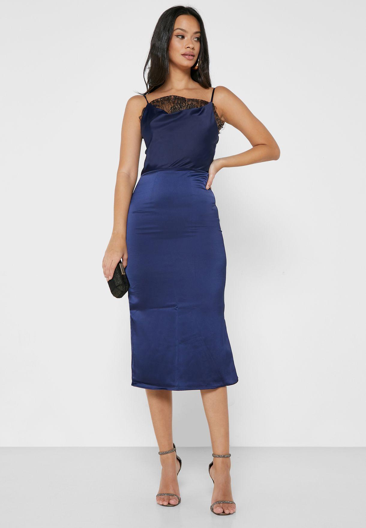 Lace Detail Side Split Dress