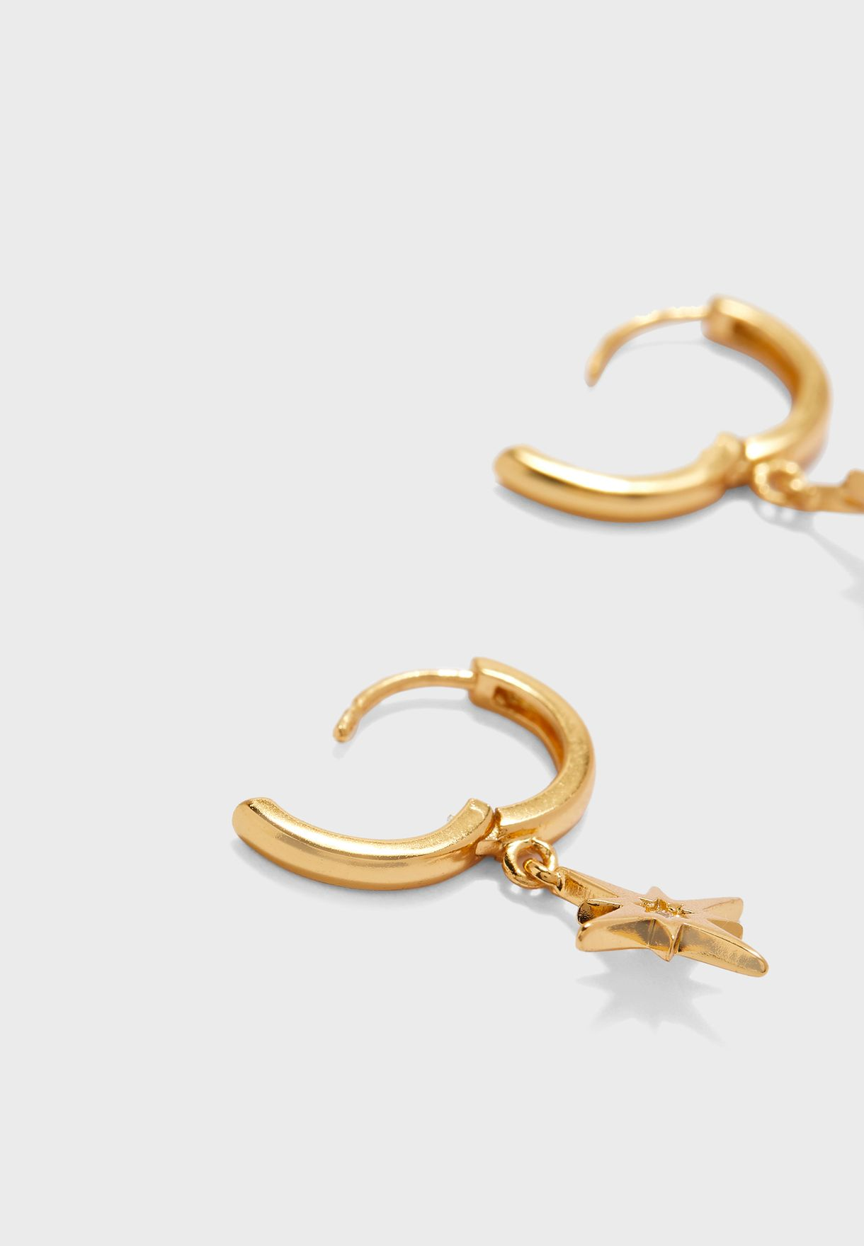 Starburst Charm Huggie Hoop Earrings