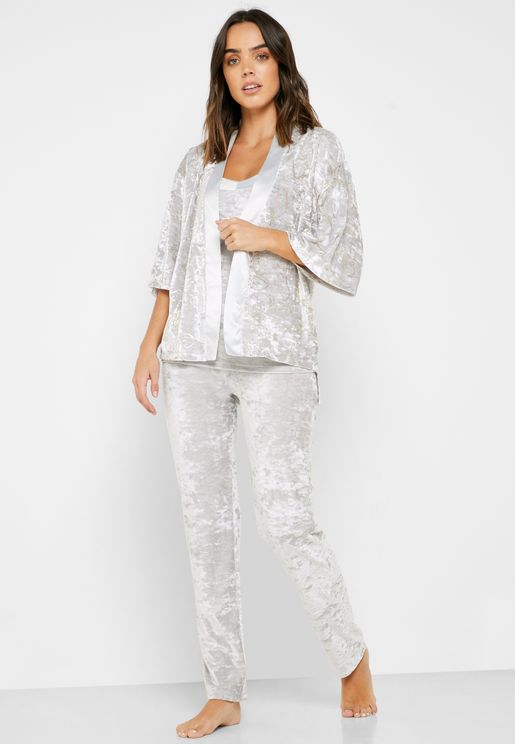 Printed Velour Robe & Pyjama 3 Piece Set