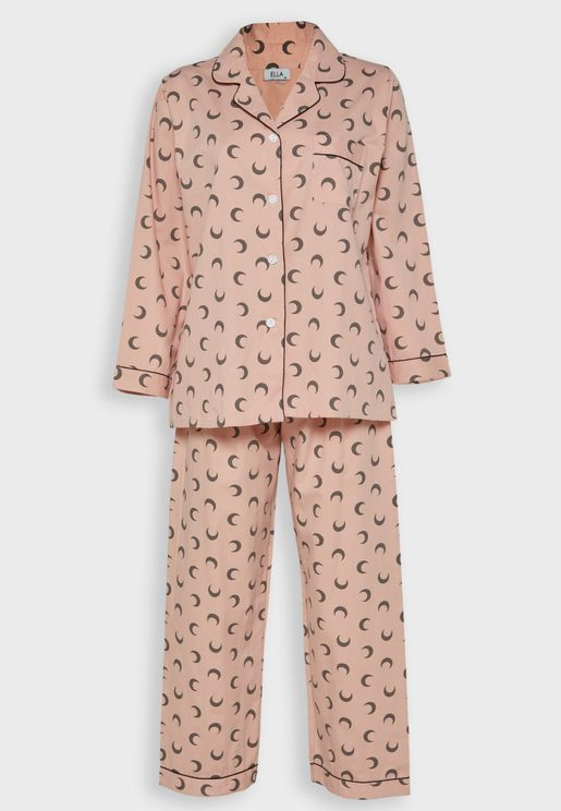 Moon Print Shirt Pyjama Set