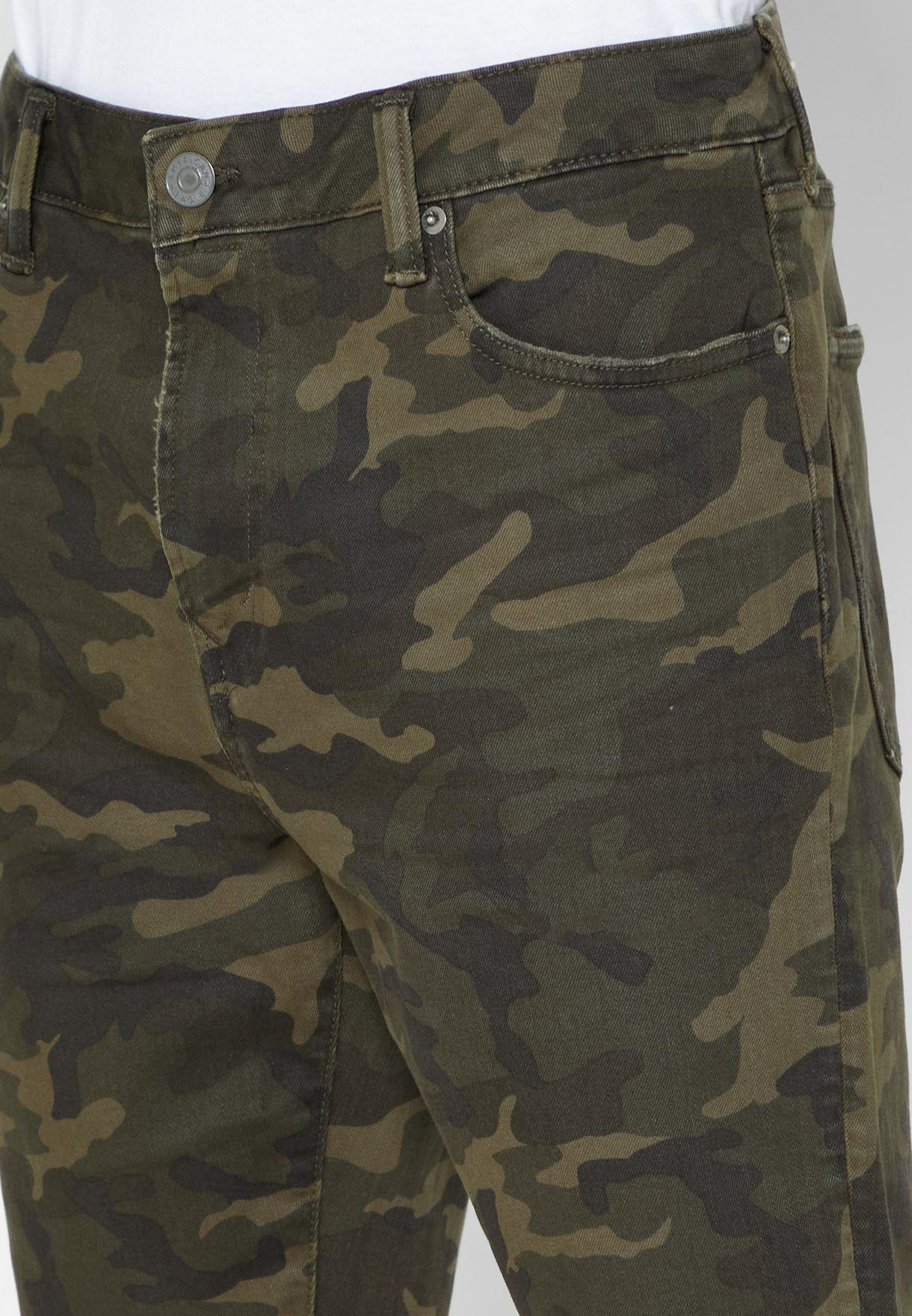 Dark Wash Camo Denim Shorts