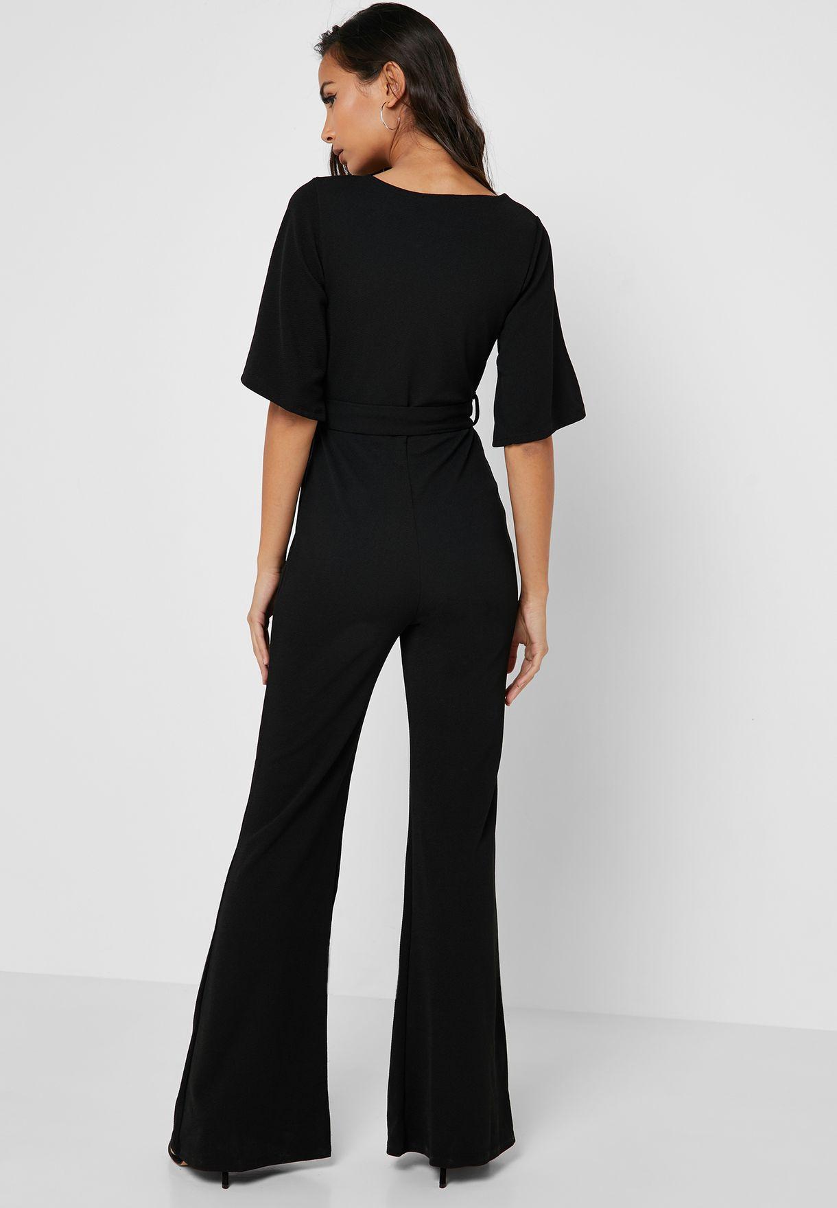 dc7640bb45b3 Shop Missguided Petite black Kimono Sleeve Plunge Jumpsuit Z9216360 ...