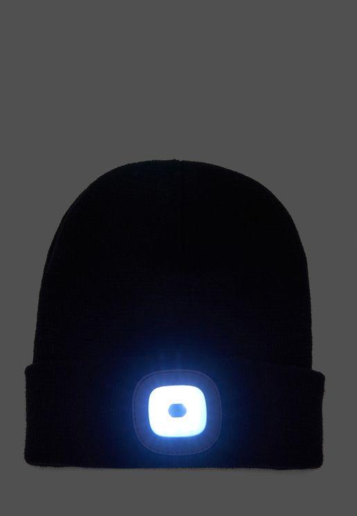 BLACK LED BEANIE HAT