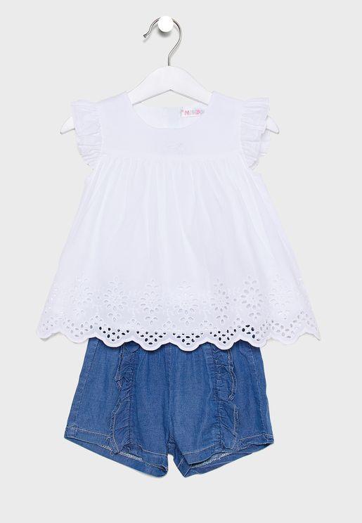 Little Frill Detail Dress + Shorts Set