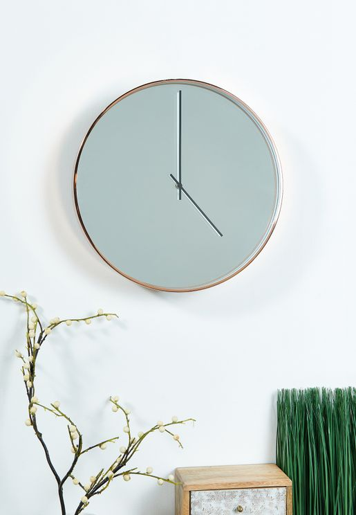 Baillie Rose Gold Mirror Face Wall Clock