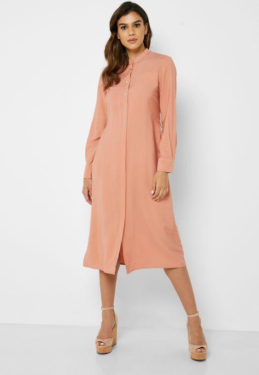 Front Split Shirt Dress