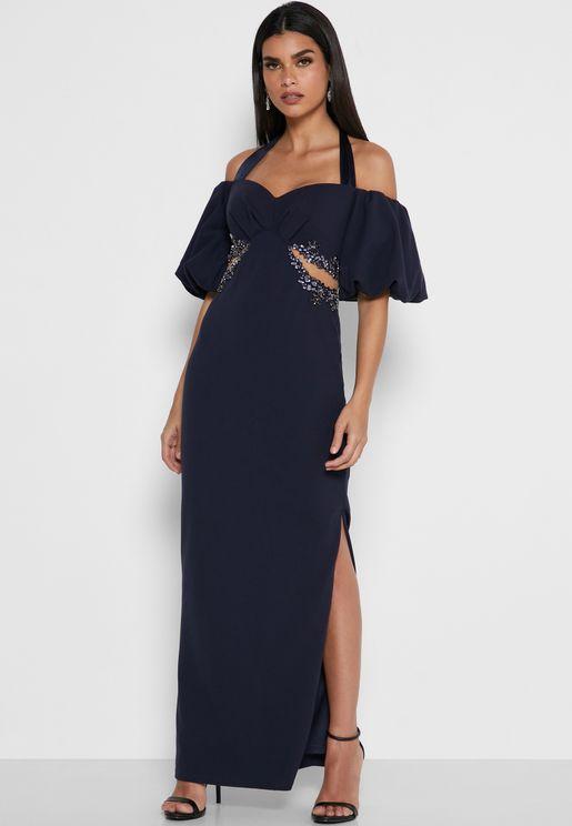 Side Split Cold Shoulder Dress