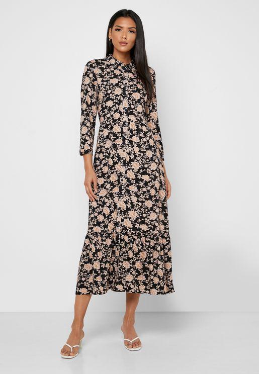 Floral Print Front Split Dress