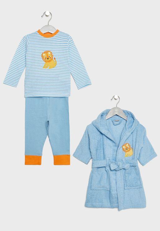 Infant Long Pyjama Set + Bathrobe