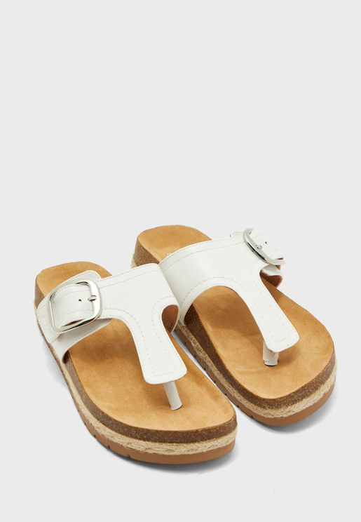 Buckle Detail T-Strap Flat Sandal