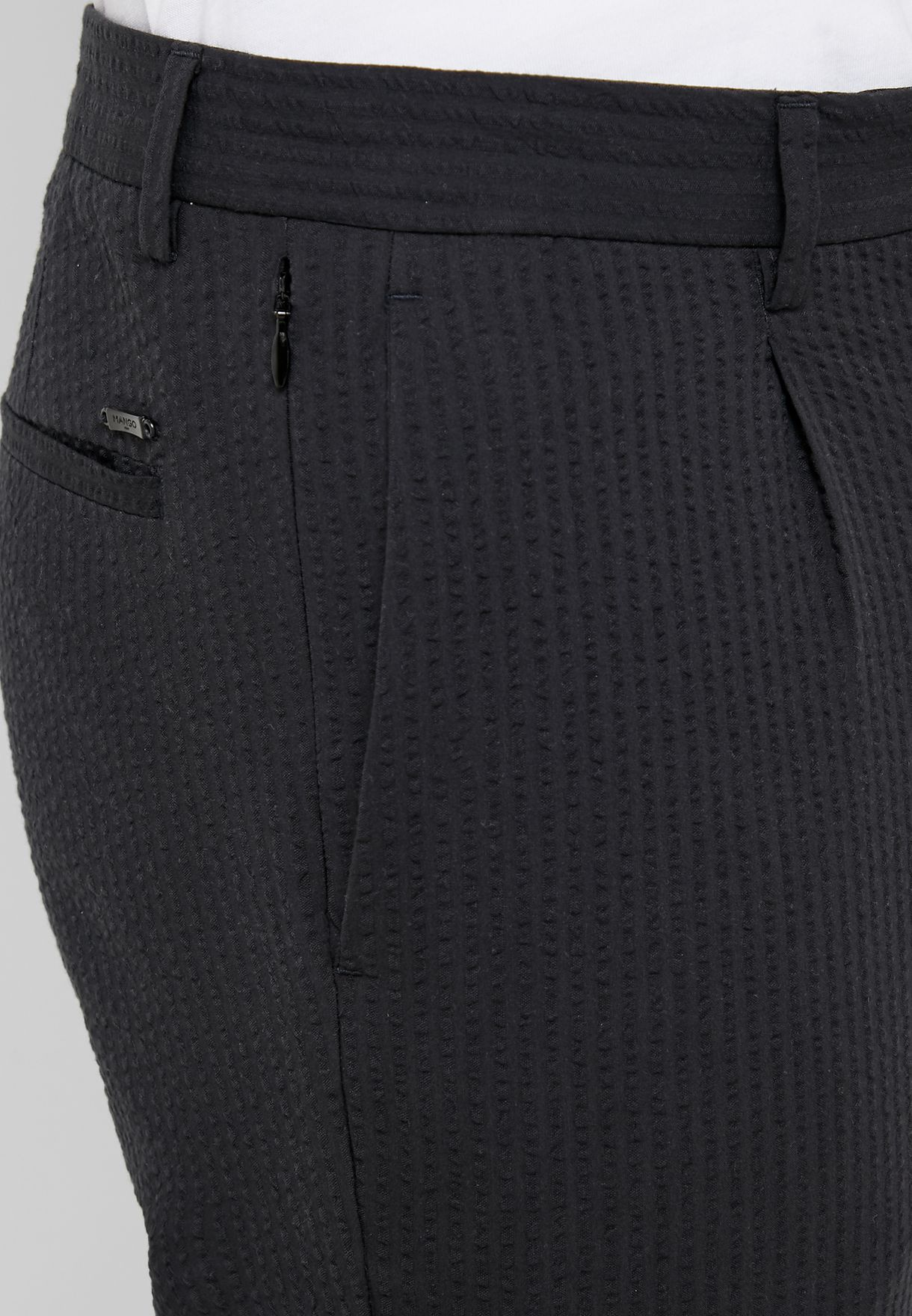 Seersucker Textured Trousers