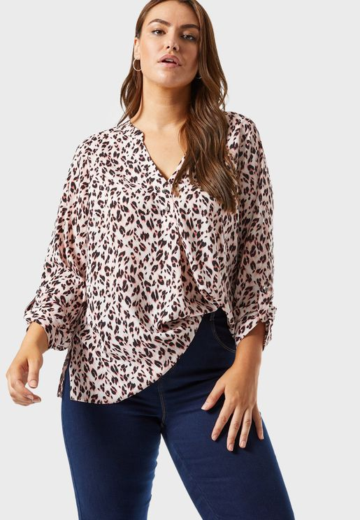 Animal Print Roll Sleeve Shirt