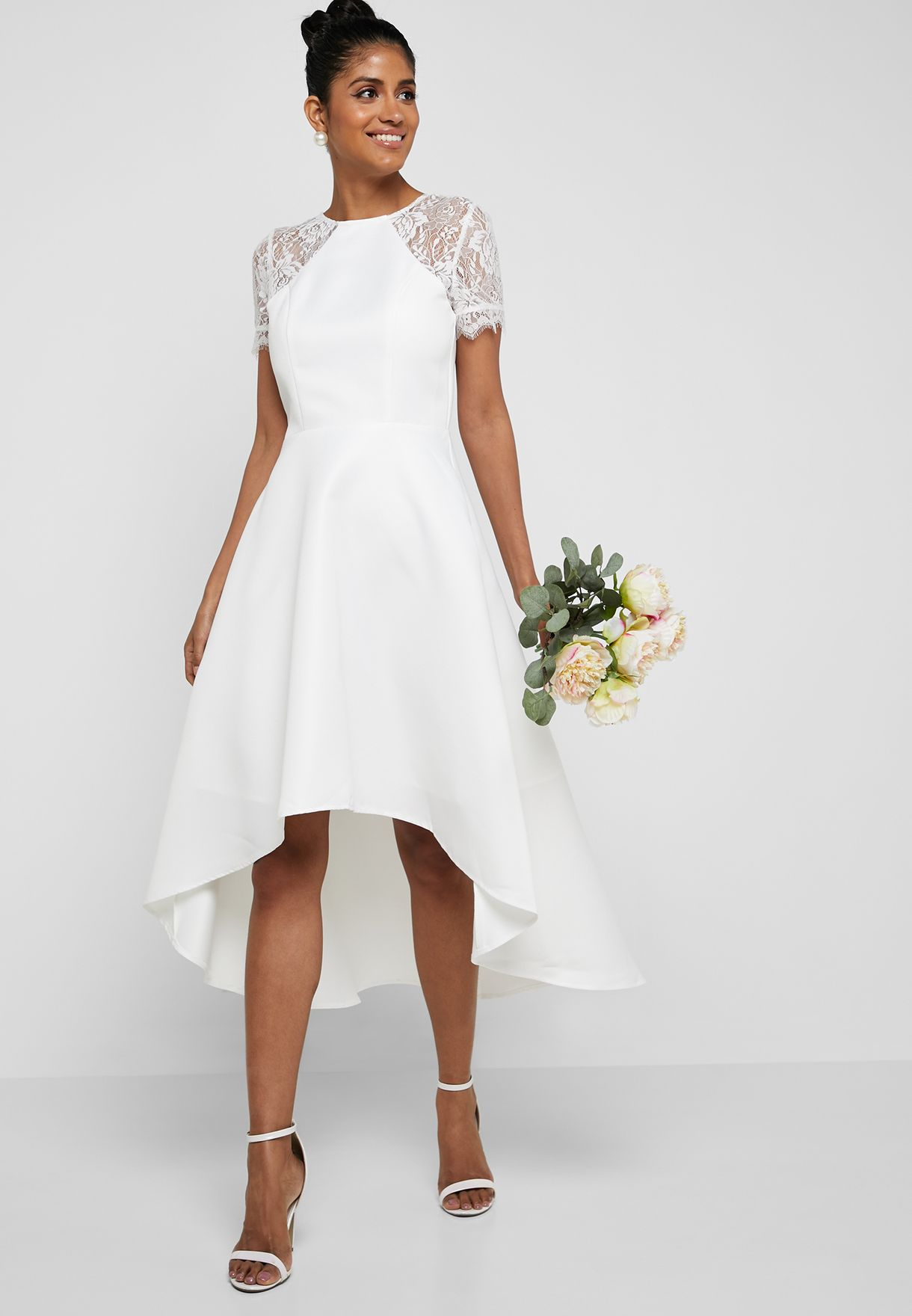 Shop Chi Chi white Lace Detail High Low Dress 6251IV for Women in ... 6b328e512247