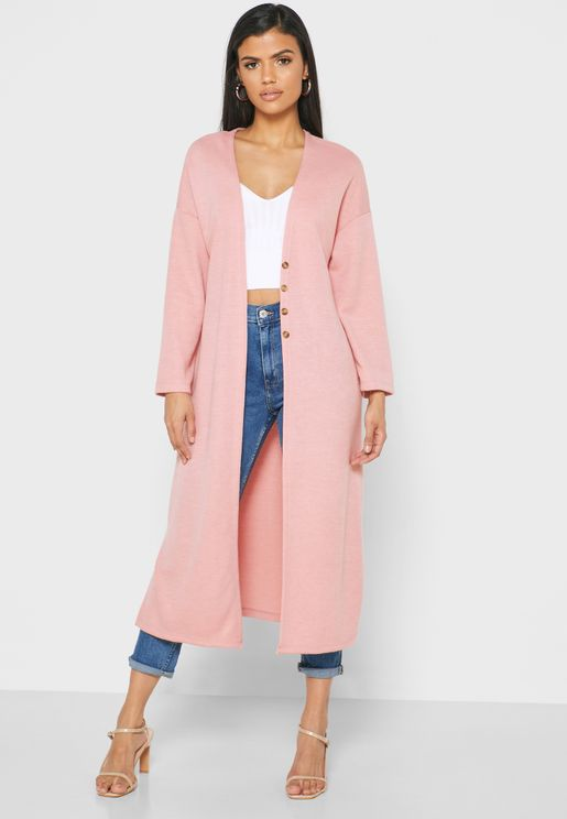 Longline Button Front Cardigan