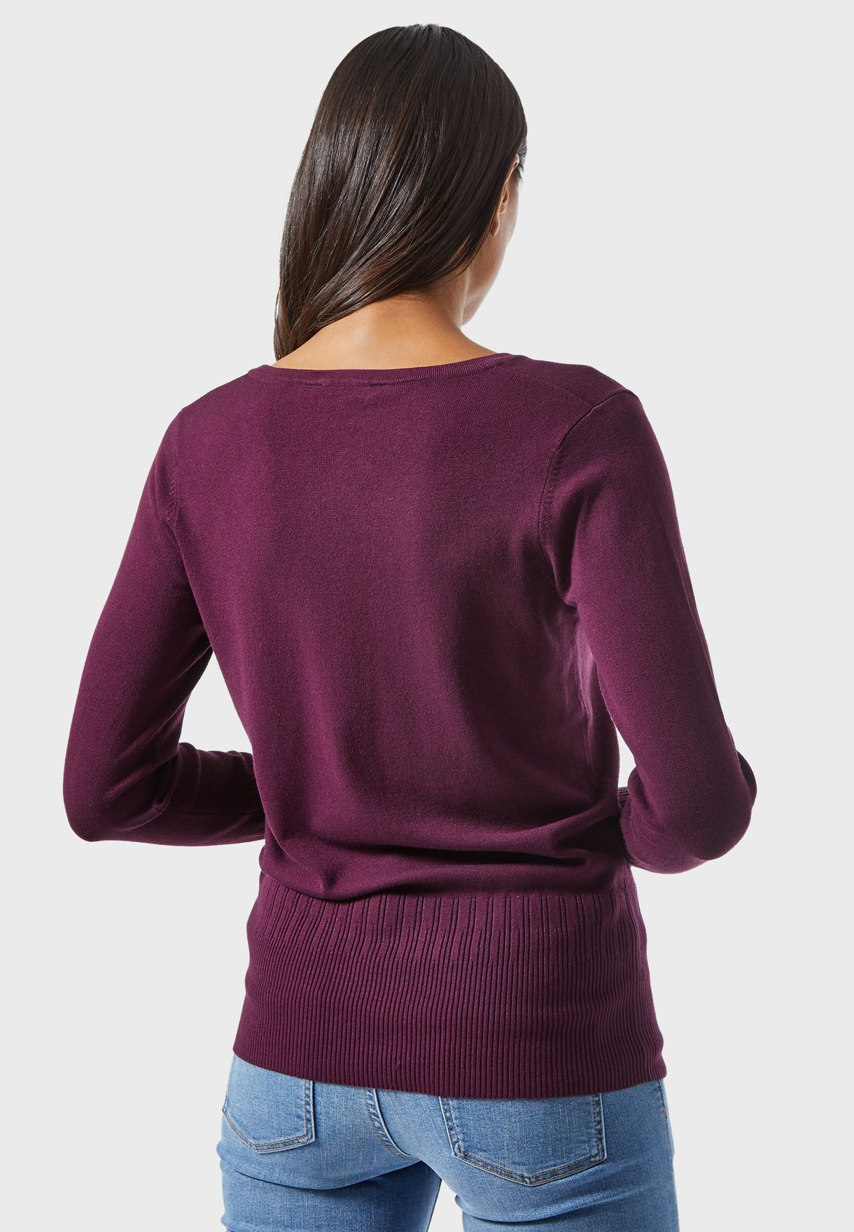 V-Neck Pearl Detail Sweater