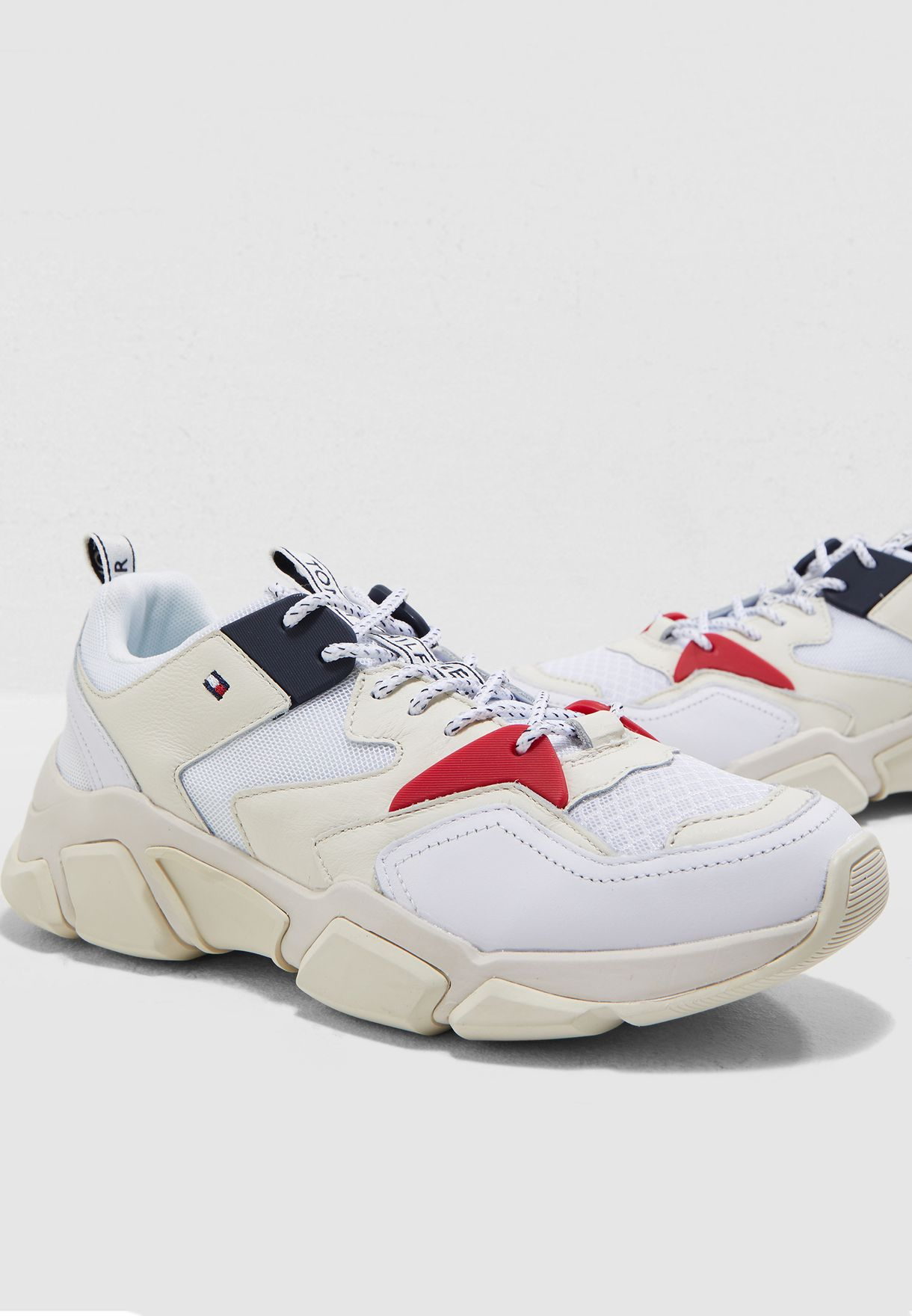 3ae7f04d2353 Shop Tommy Hilfiger white Chunky Mixed Sneaker FW0FW04065 for Women ...