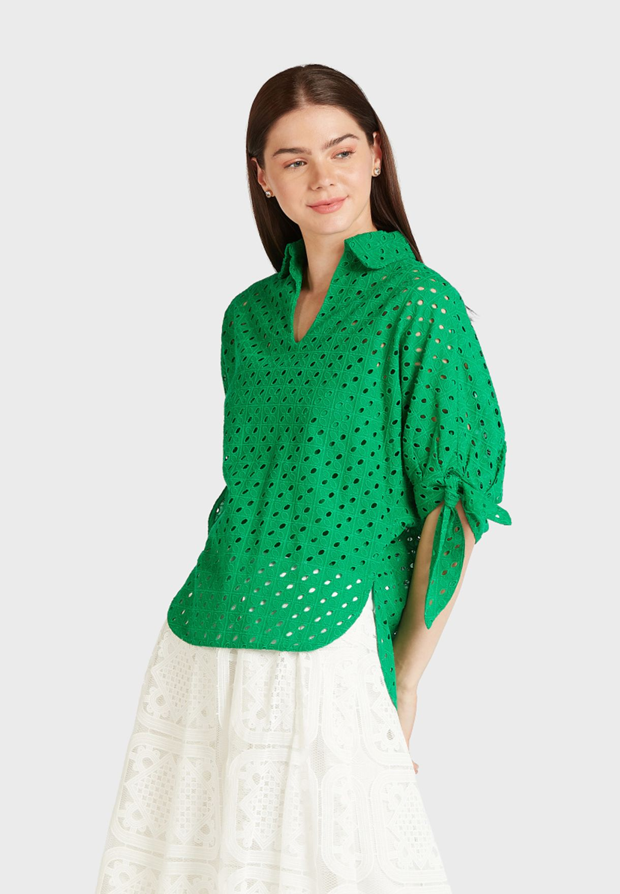 Laser Cut Tie Sleeve Top