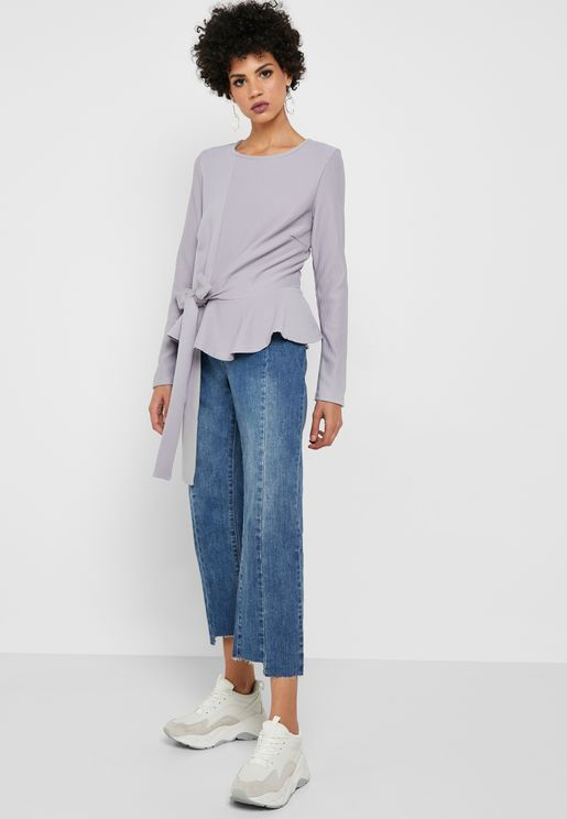 Panelled Stepped Hem Straight Jeans