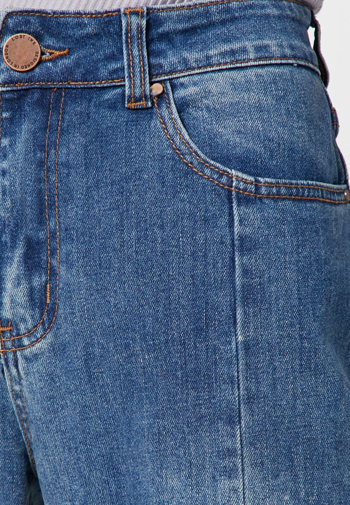 Panelled Stepped Hem Straight Jeans