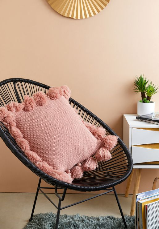 Pink Tassel Cushion With Insert 45cm x 45cm