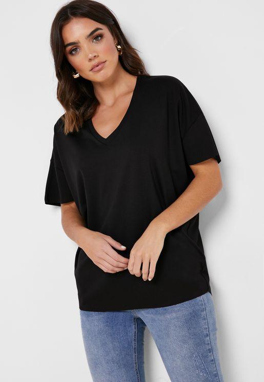 Drop Shoulder V-Neck T-Shirt