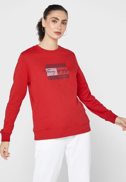 Crew Neck Graphic Sweatshirt
