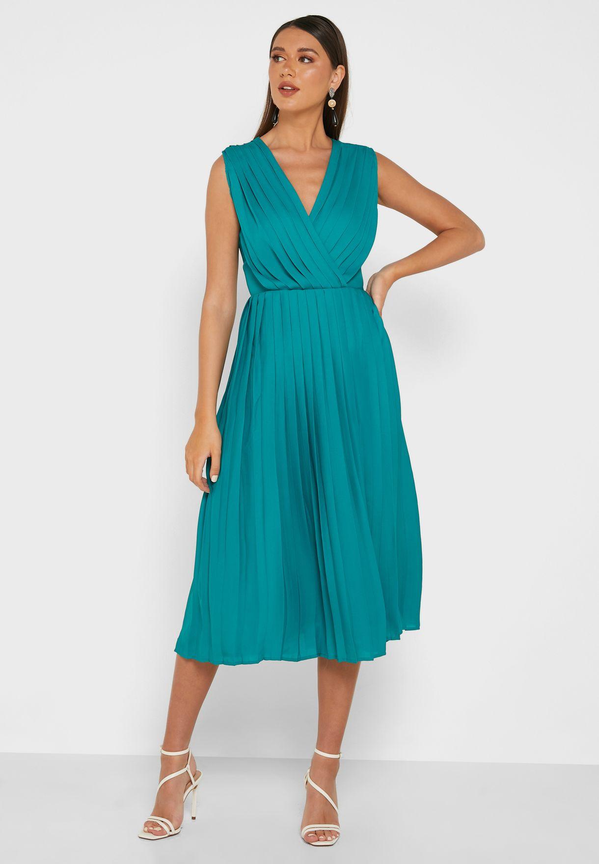d9e76a1415 Shop Ella green Pleated Wrap Front Midi Dress YG181034W for Women in ...