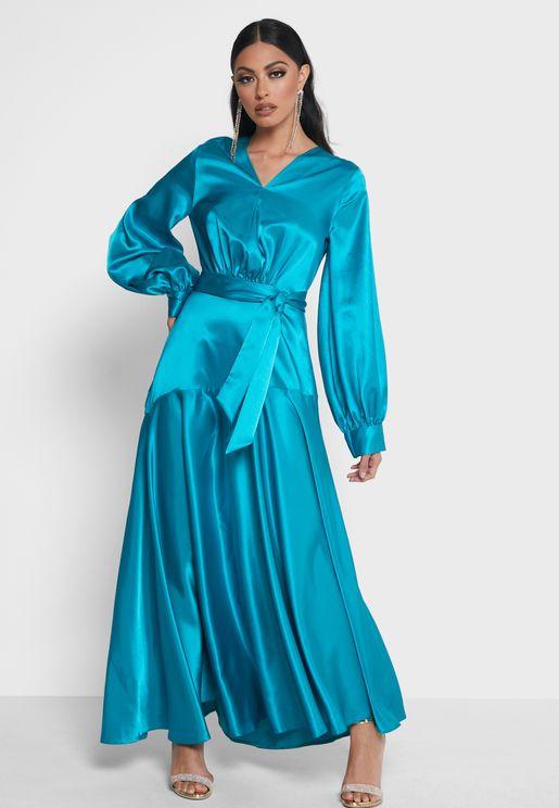 Smock Detail Belted Dress