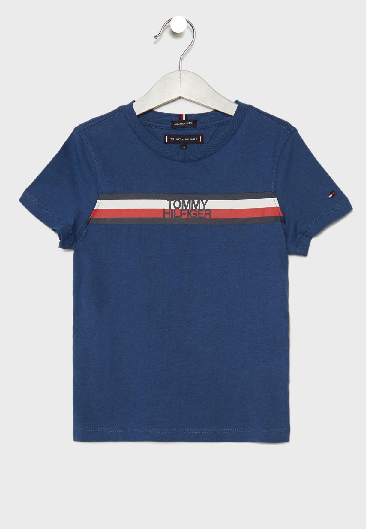 e71f47b1 Shop Tommy Hilfiger blue Little Striped T-Shirt KB0KB04678 for Kids ...