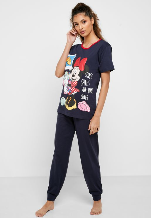 Contrast Detail Graphic T-Shirt & Printed Cuff Pyjama