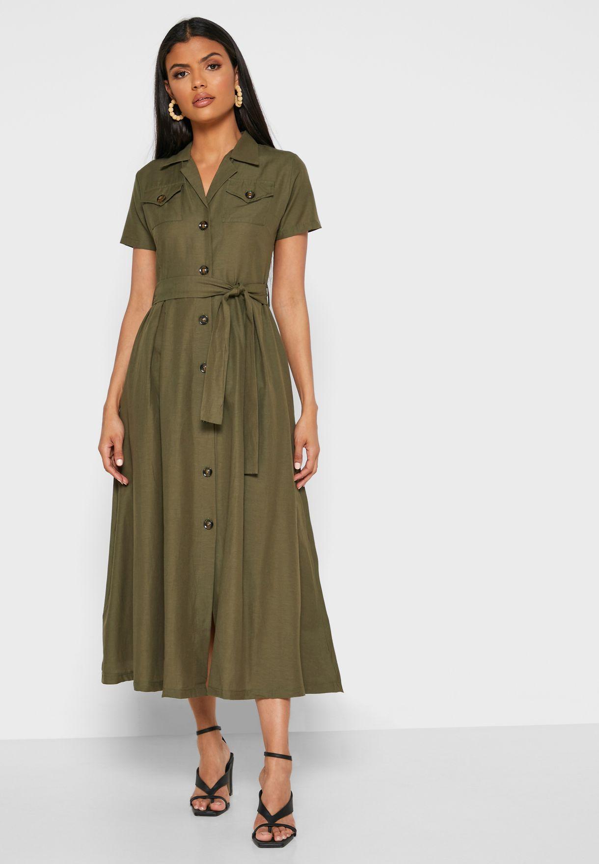 Self Tie Shirt Midi Dress