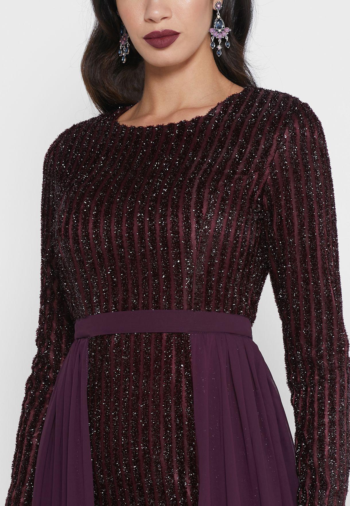 فستان ماكسي بطبقة شفافة