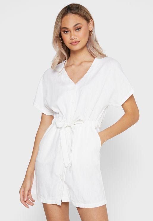V-Neck Utility Shirt Mini Dress