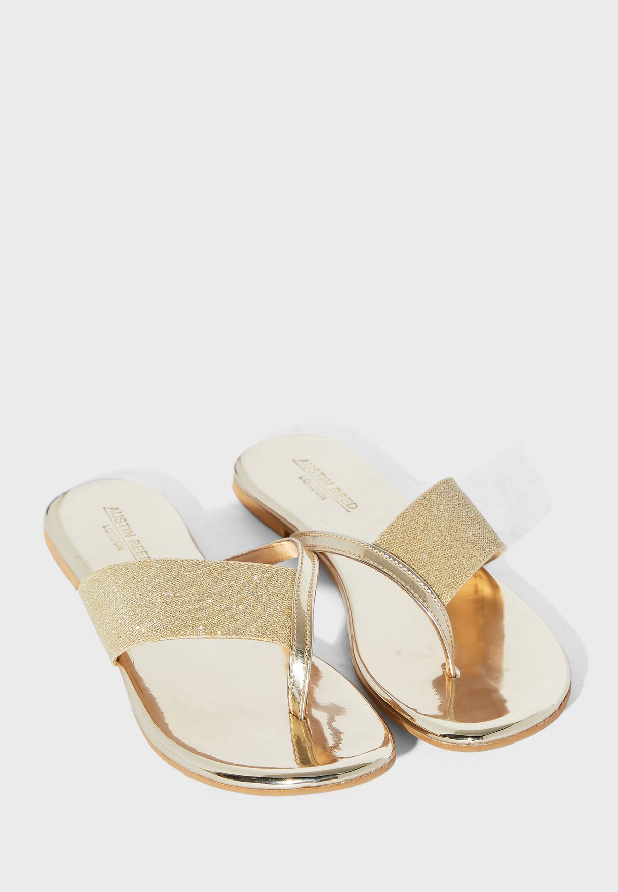 Buy Austin Reed Gold Wide Strap Flat Sandal For Women In Mena Worldwide Aulfs11dff