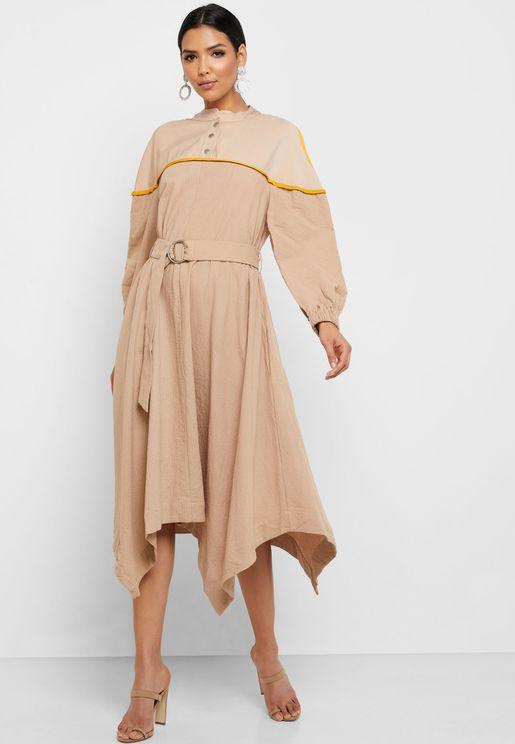 Asymmetric Belted Dress