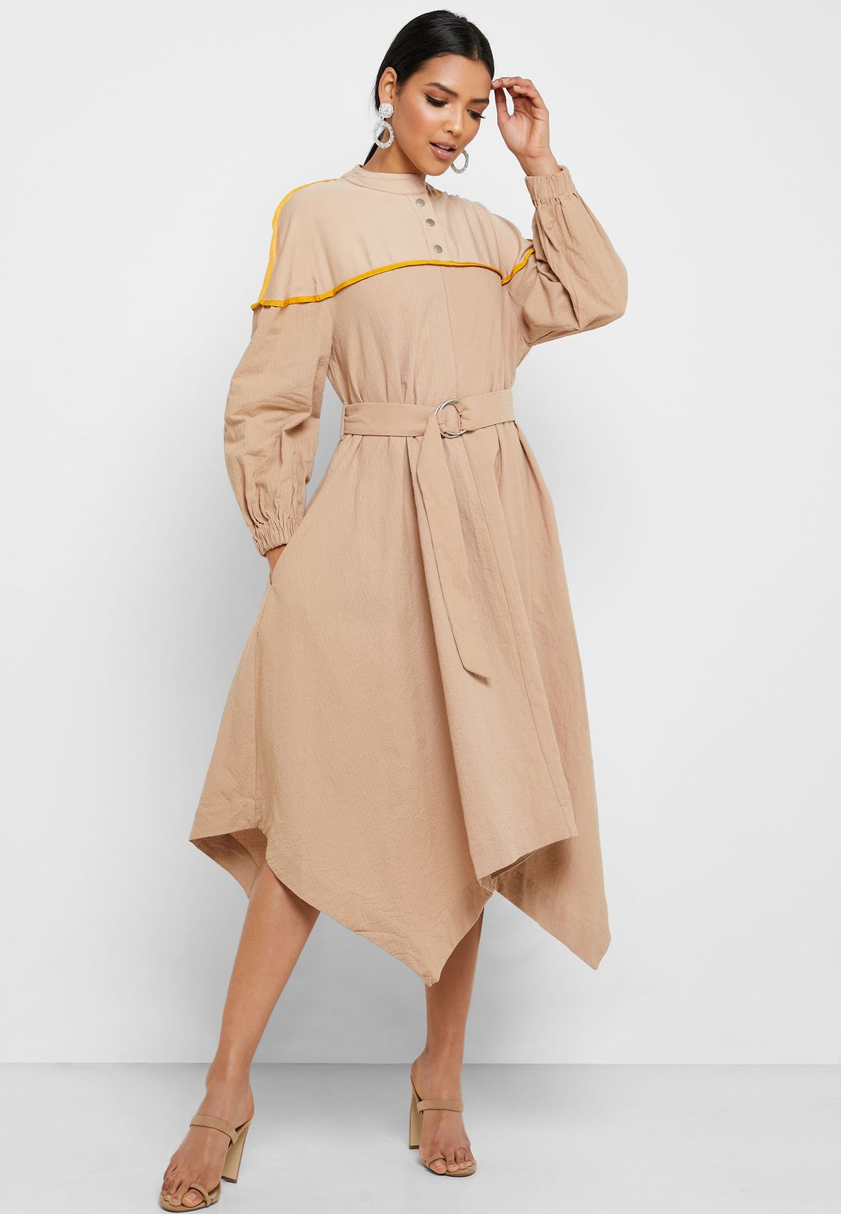 Asymmetric Belted Dress