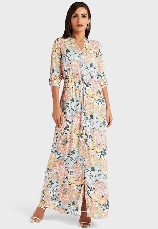 Button Down Printed Maxi Dress