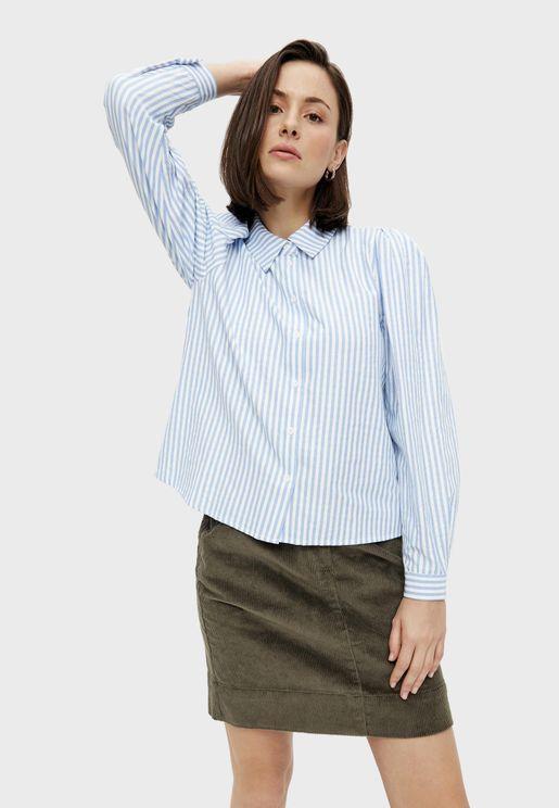 Puff Sleeve Striped Shirt
