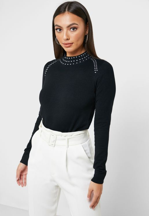 Stud High Neck Sweater