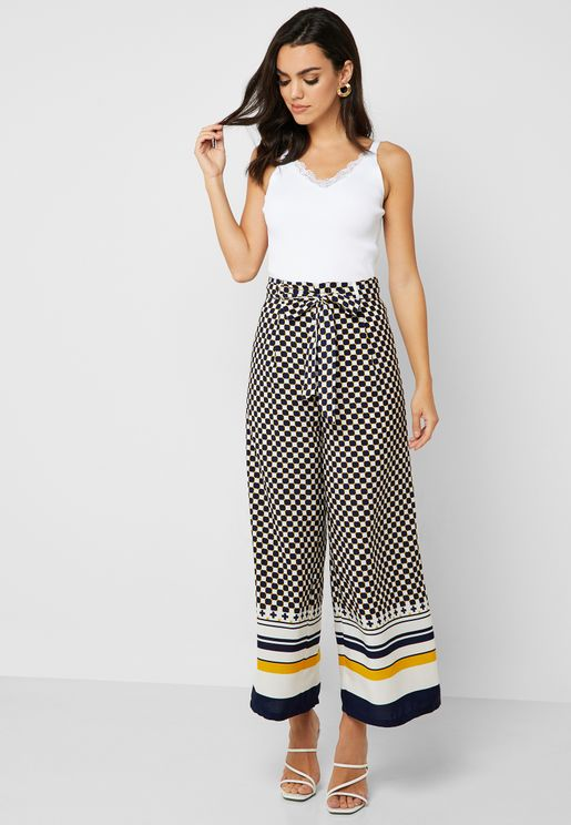 df0f88452f4cb2 Checked Contrast Hem Wide Leg Pants