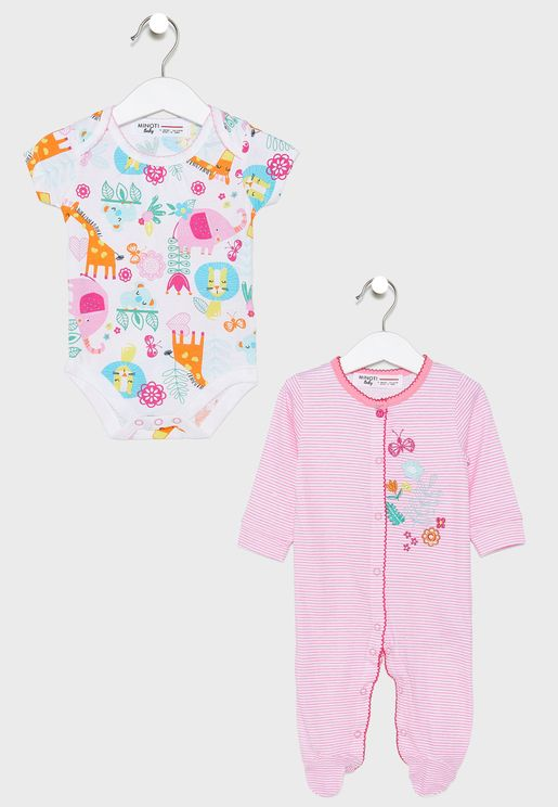 Infant Printed Sleepsuit+Bodysuit+Legging Set