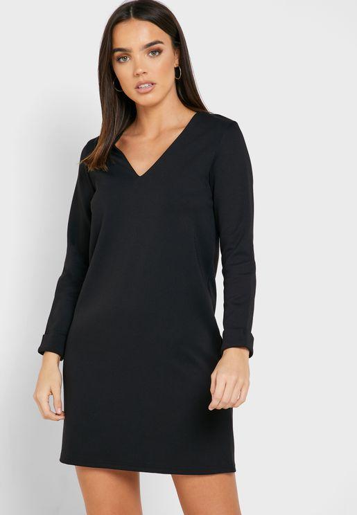 Roll Sleeve V-Neck Dress