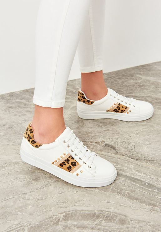 Studded Animal Print Low Top Sneaker
