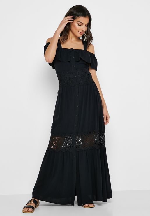 Crochet Ruffle Cold Shoulder  Maxi Dress