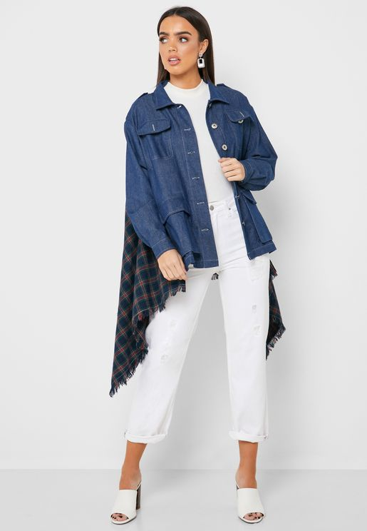 Checked Cape Denim Jacket