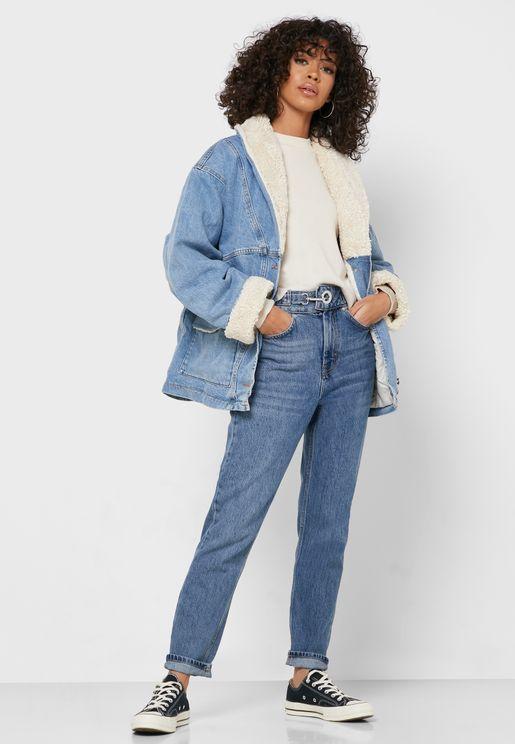 جينز الامهات بخصر مرتفع