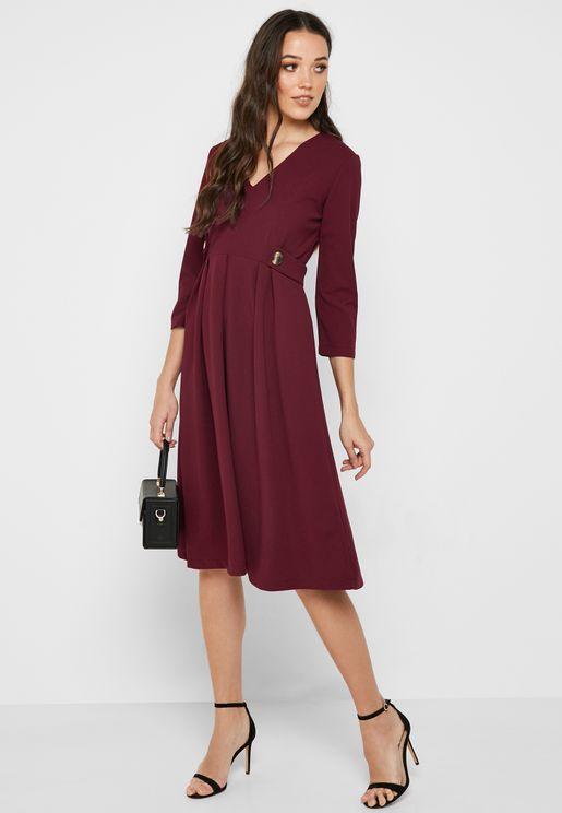 Detail Waist Midi Dress