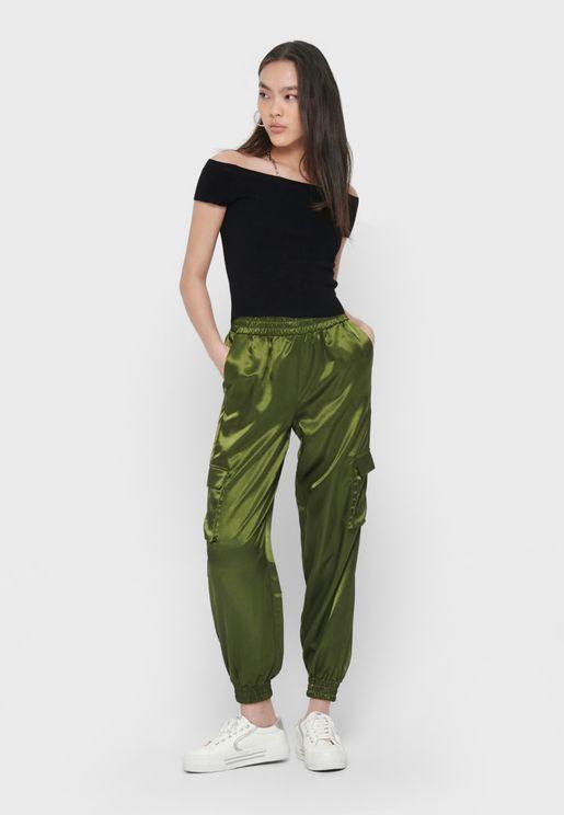 Satin Cargo Pants