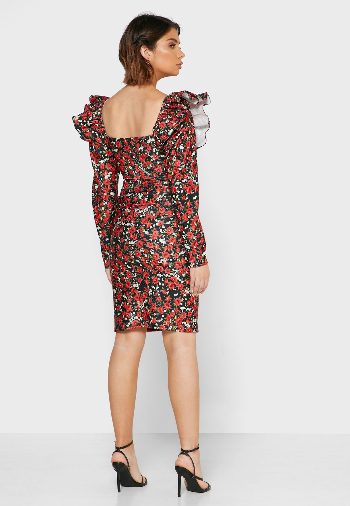 Ginger Floral Print Ruched Sleeve Mini Dress - Women Clothing HMl7X